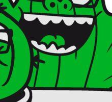 2 friends team nerd geek couple face funny comic cunning hornbrille nerdy little green cactus, desert Sticker