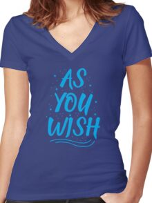 As you wish FROZEN (blue hipster magic quote) Women's Fitted V-Neck T-Shirt