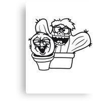 2 friends team nerd geek couple face funny comic cunning hornbrille nerdy little green cactus, desert Canvas Print