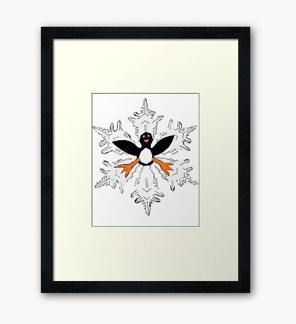Penguin snow flake Framed Print