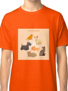 Home Pets Set: Carrot, Dog, Rabbit, Fish and Cats. Vector illustration Classic T-Shirt