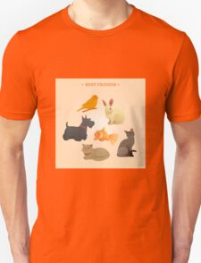 Home Pets Set: Carrot, Dog, Rabbit, Fish and Cats. Vector illustration T-Shirt