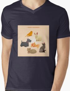 Home Pets Set: Carrot, Dog, Rabbit, Fish and Cats. Vector illustration Mens V-Neck T-Shirt