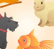 Home Pets Set: Carrot, Dog, Rabbit, Fish and Cats. Vector illustration Sticker