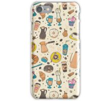 Coffee outline seamless pattern iPhone Case/Skin