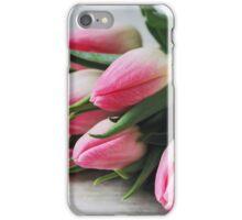 Pink tulip buds close up iPhone Case/Skin