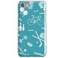 Sports Seamless Pattern. Baseball, Football, Basketball, Tennis, Skiing, Fitness in vector flat style iPhone Case/Skin