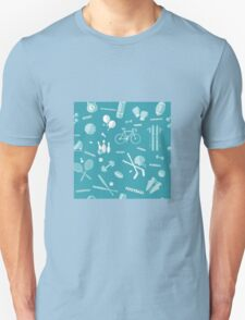 Sports Seamless Pattern. Baseball, Football, Basketball, Tennis, Skiing, Fitness in vector flat style Unisex T-Shirt