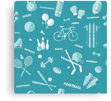 Sports Seamless Pattern. Baseball, Football, Basketball, Tennis, Skiing, Fitness in vector flat style Canvas Print