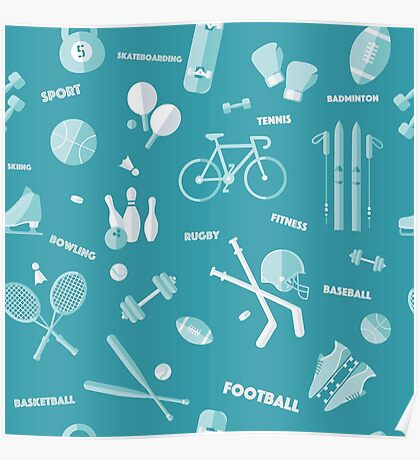 Sports Seamless Pattern. Baseball, Football, Basketball, Tennis, Skiing, Fitness in vector flat style Poster