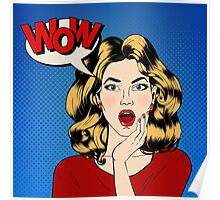 Surprised Woman with Bubble and Expression Wow in Comics Style. Vector illustration Poster