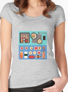 Sushi Set with Different Rolls, Soup and Rice. Vector illustration in flat style Women's Fitted Scoop T-Shirt