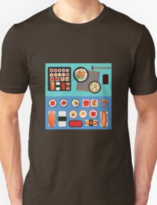 Sushi Set with Different Rolls, Soup and Rice. Vector illustration in flat style T-Shirt