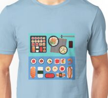 Sushi Set with Different Rolls, Soup and Rice. Vector illustration in flat style Unisex T-Shirt