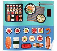 Sushi Set with Different Rolls, Soup and Rice. Vector illustration in flat style Poster