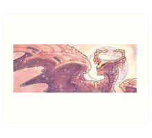 red moon dragon Art Print