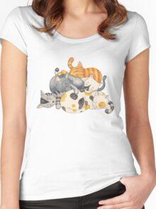 Cat Nap (Siesta Time) T-shirt femme moulant à col profond