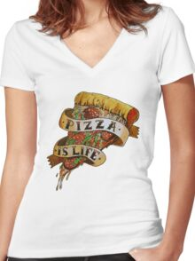 Pizza is Life Women's Fitted V-Neck T-Shirt