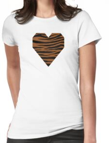 0605 Saddle Brown Tiger Womens Fitted T-Shirt