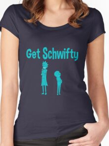 rick and morty blue Women's Fitted Scoop T-Shirt