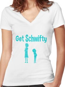 rick and morty blue Women's Fitted V-Neck T-Shirt