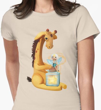 Fairy and Giraffe  Womens Fitted T-Shirt