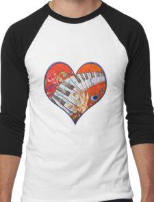 Crazy Fingers Piano Batik by Sue Duda Men's Baseball ¾ T-Shirt