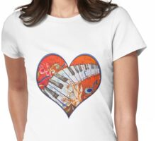 Crazy Fingers Piano Batik by Sue Duda Womens Fitted T-Shirt