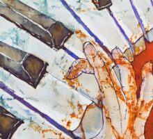 Crazy Fingers Piano Batik by Sue Duda Sticker