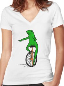 Dat Boi Unicycle Frog T-Shirt Women's Fitted V-Neck T-Shirt