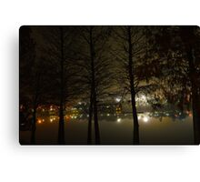 Foggy Night on the Waterfront Canvas Print