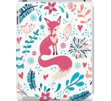 Fox with winter flowers and snowflakes iPad Case/Skin