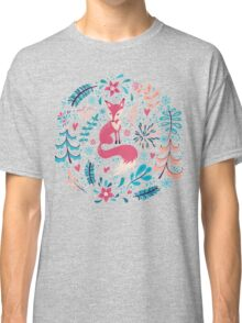Fox with winter flowers and snowflakes Classic T-Shirt