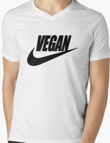vegan black and white Mens V-Neck T-Shirt