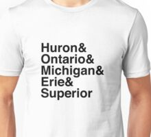 Helvetica List - Great Lakes Unisex T-Shirt