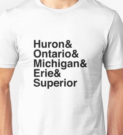 Helvetica List - Great Lakes Unisex T-Shirt