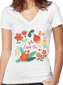 Happy Valentines day card Women's Fitted V-Neck T-Shirt