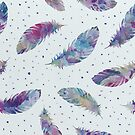 Colorful Tribal Feather Illustration Seamless Pattern by artonwear