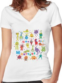 Cute Monsters Women's Fitted V-Neck T-Shirt