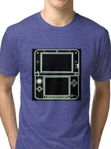 """ALIEN 3DS XL: glowing green sci-fi nintendo outline - """"The Gamer Collection"""" Tri-blend T-Shirt"""