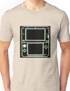 """ALIEN 3DS XL: glowing green sci-fi nintendo outline - """"The Gamer Collection"""" Unisex T-Shirt"""