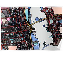 Abstract Map of New Bedford Poster