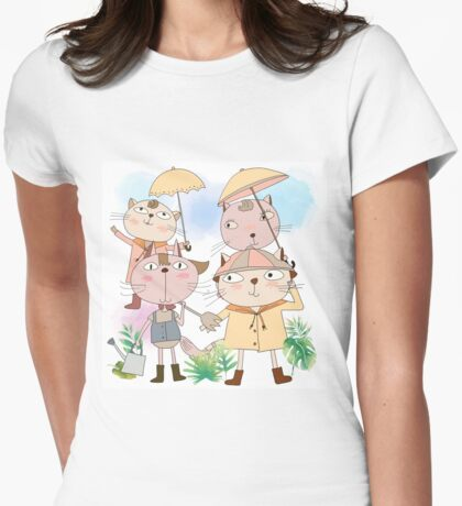 Cats in Rain Sun Shower Womens Fitted T-Shirt