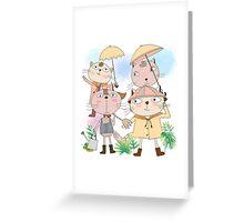 Cats in Rain Sun Shower Greeting Card