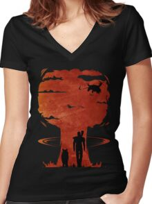 Atomic Warfare - Orange Women's Fitted V-Neck T-Shirt
