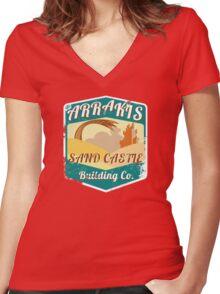 ARRAKIS SAND CASTLE BUILDING COMPANY  Women's Fitted V-Neck T-Shirt
