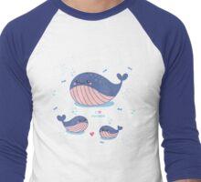 Whale Family Mother's Day Men's Baseball ¾ T-Shirt