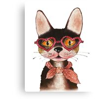Cool Cat in Glasses and Scarf Canvas Print