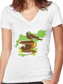 Bird on a cup of coffee Women's Fitted V-Neck T-Shirt