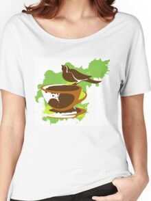 Bird on a cup of coffee Women's Relaxed Fit T-Shirt